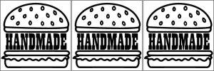 画像1: カスタム仕様アイロンシート(艶消しラバーシート):ハンバーガー