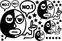 カスタム仕様アイロンシート(艶消しラバーシート):おとぼけマスクマンAセット
